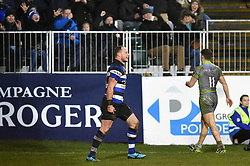 Jack Wilson of Bath Rugby scores a try in the second half - Mandatory byline: Patrick Khachfe/JMP - 07966 386802 - 27/01/2018 - RUGBY UNION - The Recreation Ground - Bath, England - Bath Rugby v Newcastle Falcons - Anglo-Welsh Cup