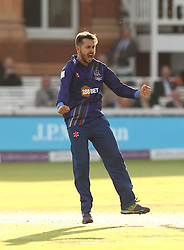 Gloucestershire's Jack Taylor celebrates the wicket of Tom Curran of Surrey CCC - Mandatory byline: Robbie Stephenson/JMP - 07966 386802 - 19/09/2015 - Cricket - Lord's Cricket Ground - London, England - Gloucestershire CCC v Surrey CCC - Royal London One-Day Cup Final