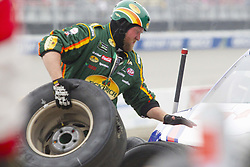 June 10, 2018 - Brooklyn, Michigan, U.S - The pit crew of NASCAR driver BUBBA WALLACE JR. (43) performs a tire change during the 50th Annual FireKeepers Casino 400 at Michigan International Speedway. (Credit Image: © Scott Mapes via ZUMA Wire)