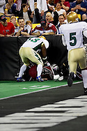 4/12/2007 - Wild LB Justin Dailey (34) covers a loose ball in the Alaska Wild's 33-46 loss to the Frisco Thunder in the first professional football game in Alaska.