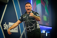 Gerwyn Price (Wales) celebrates during the William Hill World Darts Championship at Alexandra Palace, London, United Kingdom on 28 December 2020.