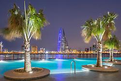 Skyline of Manama city  from new Four Seasons Bahrain Bay luxury Hotel in Bahrain