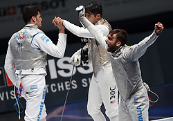 WUXI, July 27, 2018  Daniele Garozzo (R) of Italy celebrates after winning the men's foil team final between Italy and the United States at the Fencing World Championships in Wuxi, east China's Jiangsu Province, July 27, 2018. Italy beat US 45-34 and claimed the title of the event. (Credit Image: © Han Yuqing/Xinhua via ZUMA Wire)