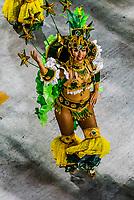 Dancer in the Carnaval parade of Inocentes de Belford Roxo samba school in the Sambadrome, Rio de Janeiro, Brazil.