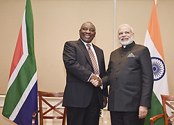 PRETORIA, July 9, 2016 (Xinhua) -- Visiting Indian Prime Minister Narendra Modi (R) shakes hands with South African Deputy President Cyril Ramaphosa in Pretoria, South Africa, on July 8, 2016.? (Xinhua/DOC/Siyasanga Mbambani) (Credit Image: © Siyasanga Mbambani/Xinhua via ZUMA Wire)