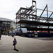 2017 U.S. Open - AUGUST 23.  A view of the new 14,000-seat Louis Armstrong Stadium presently under construction next to Arthur Ashe Stadium which will open for the 2018 US Open. The US Open Tennis Tournament at the USTA Billie Jean King National Tennis Center on August 23, 2017 in Flushing, Queens, New York City.  (Photo by Tim Clayton/Corbis via Getty Images)