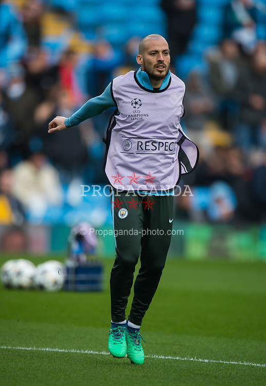 MANCHESTER, ENGLAND - Tuesday, April 10, 2018:  David Silva of Manchester City during his warmup routine before the UEFA Champions League Quarter-Final 2nd Leg match between Manchester City FC and Liverpool FC at the City of Manchester Stadium. (Pic by Peter Powell/Propaganda)
