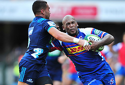 Cape Town-180317 Ramone Samuels  of DHL Stomers tackled by Sam Nock  at Newlands rugby stadium.Photograph:Phando Jikelo/African News Agency/ANA