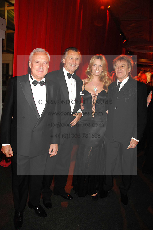 Left to right, BERNARD FORNAS, ARNAUD BAMBERGER, ROD STEWART and his wife PENNY at a dinner held at the Natural History Museum to celebrate the re-opening of their store at 175-177 New Bond Street, London on 17th October 2007.<br /><br />NON EXCLUSIVE - WORLD RIGHTS