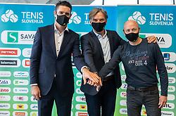 Gregor Krusic, David Kastelic and Andrej Krasevec during press conference of Tenis Slovenija when presented WTA Portoroz 2021 tournament, on February 18, 2021 in Kristalna palaca, Ljubljana, Slovenia. Photo by Vid Ponikvar / Sportida