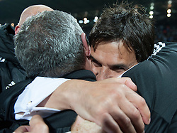 ZENICA, BOSNIA & HERZEGOVINA - Saturday, October 10, 2015: Wales manager Chris Coleman celebrates after securing a place at next years Euro Championships after the Bosnia & Herzegovina vs Wales match at the Stadion Bilino Polje during the UEFA Euro 2016 qualifying Group B match. (Pic by Peter Powell/Propaganda)