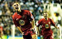 Photo: Gareth Davies.<br /> Reading v Blackburn Rovers. The Barclays Premiership. 16/12/2006.<br /> Blackburn's David Bentley (L) celebrates after a wonder strike puts his team 2-1 up to win the match.
