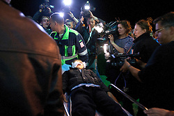 © licensed to London News Pictures. BENGHAZI, LIBYA. 18/04/11. A young boy is taken off the ship by stretcher. The Greek ship Ionian Spirit arrives at Benghazi carrying wounded civilians evacuated from Misrata. See special instructions for usage rates. Photo credit should read  ISMAIL NEGM/LNP