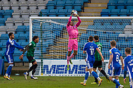 Rochdale goalkeeper Gavin Bazunu (1) makes a save during the EFL Sky Bet League 1 match between Gillingham and Rochdale at the MEMS Priestfield Stadium, Gillingham, England on 23 January 2021.
