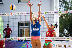 Erika Fabjan of Sberbank vs Ana Skarlovnik of team Ana in Jelena during Qlandia Beach Challenge 2015 and Beach Volleyball Slovenian National Championship 2015, on July 25, 2015 in Kranj, Slovenia. Photo by Ziga Zupan / Sportida