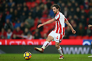 Joe Allen of Stoke City in action. Premier league match, Stoke City v Manchester City at the Bet365 Stadium in Stoke on Trent, Staffs on Monday12th March 2018.<br /> pic by Andrew Orchard, Andrew Orchard sports photography.