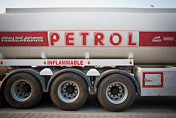 © Licensed to London News Pictures. 26/06/2014. Sulaimaniyah, Iraq. An empty petrol tanker is seen outside a fuel station in Sulaimaniyah, Iraqi-Kurdistan. Despite being an oil-rich country Iraq's main oil refinery at Baiji is now the hands of ISIS insurgents cutting much of the fuel to the rest of the country. Petrol rationing has come in to force across northern Iraq with huge queues that mean many drivers wait in line for hours, sometimes overnight, just to receive their allowance of 30 litres. The shortage has also seen a huge increase in fuel prices with a litre of petrol rising 150% from 500 Iraqi Dinars to 1500 Iraqi Dinars. Photo credit: Matt Cetti-Roberts/LNP