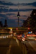 Frankfurter Allee at dusk in Berlin, Germany 2019.
