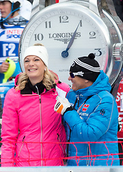05.01.2016, Deborah Compagnoni Rennstrecke, Santa Caterina, ITA, FIS Ski Weltcup, Santa Caterina, Slalom, Damen, 2. Lauf, im Bild v.l. Maria Höfl Riesch (ARD Moderatorien), Wolfgang Maier DSV Sportdirektor Alpin // Maria Höfl Riesch (former German Skiracer) ( L ) and Wolfgang Maier DSV sports director Alpine Skiing ( R ) during the ladie's Slalom of the Santa Caterina FIS Ski Alpine World Cup at the Deborah Compagnoni Course in Santa Caterina, Italy on 2016/01/05. EXPA Pictures © 2016, PhotoCredit: EXPA/ Johann Groder