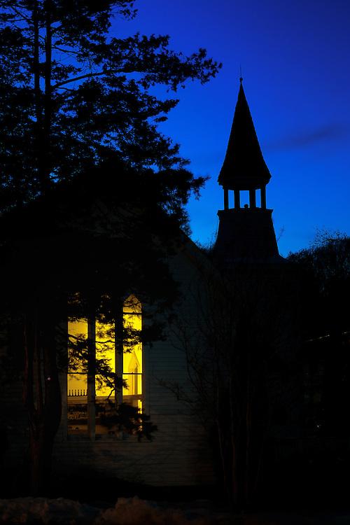 Historic Oella church at dusk.
