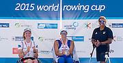 Varese. ITALY.  ASW1X Medals,  left. DEN ASW1X. SKARSTEIN, Birgit,  centre ISR. ASW1X. SAMUEL, Moran. right BRA ASW1X. SANTOS, Claudia,    2015 FISA World Cup II Venue Lake Varese. Saturday  20/06/2015 [Mandatory Credit: Peter Spurrier/Intersport images]