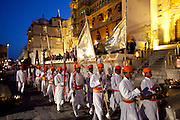 Parade for Holi Fire Festival at City Palace of 76th Maharana of Mewar, Shriji Arvind Singh Mewar of Udaipur, Rajasthan, India