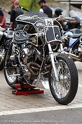 "Kyle Ray Rice's 108 ci Shovelhead ""Bad Company"" at the Ace Cafe Dyna-FXR show during Daytona Bike Week. Orlando, FL. USA. Saturday March 10, 2018. Photography ©2018 Michael Lichter."