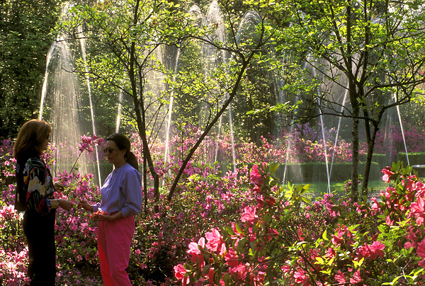 Stock photo of visitors to Bayou Bend enjoying a conversation near fountains and azaleas.