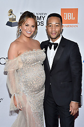Chrissy Teigen and John Legend attend the Clive Davis and Recording Academy Pre-GRAMMY Gala and GRAMMY Salute to Industry Icons Honoring Jay-Z on January 27, 2018 in New York City.. Photo by Lionel Hahn/ABACAPRESS.COM