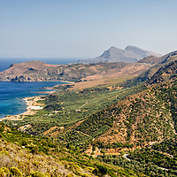 Crete. Greece. Dramatic and panoramic view of the stunning north western coast of Crete with the towering Gramvousa Mountains providing a majestic backdrop in the region of Hania. Crete is Greece's largest island and the fifth largest island in the Mediterranean.