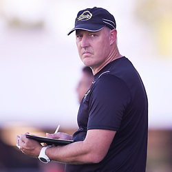 BRISBANE, AUSTRALIA - JANUARY 27: Jets assistant coach Dave Harris looks on during the Kappa Silver Boot Third Place match between Moreton Bay United and Brisbane City on January 27, 2018 in Brisbane, Australia. (Photo by Patrick Kearney)
