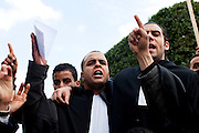 Tunis, Tunisia. January 26th 2011.Lawyers chant slogan and protest at the Kasbah Square.....