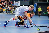 ROTTERDAM  - NK Zaalhockey,   halve finale heren Oranje Rood-SCHC (SCHC wint en plaatst zich voor de finale) . Leon van Barneveld (SCHC)     COPYRIGHT KOEN SUYK