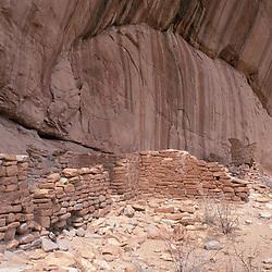 Near Blanding, UT.Ancestral Puebloan ruins under a cliff in Arch Canyon.  BLM land.