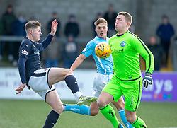 Forfar Athletic's keeper Marc McCallum out with Raith Rovers Kevin Nisbet. Forfar Athletic 3 v 2 Raith Rovers, Scottish Football League Division One played 27/10/2018 at Forfar Athletic's home ground, Station Park, Forfar.