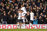 Toby Alderweireld of Tottenham Hotspur © celebrates with teammates Christian Eriksen of Tottenham Hotspur and Harry Kane of Tottenham Hotspur and Son Heung-Min of Tottenham Hotspur after scoring his teams 2nd goal . Barclays Premier league match, Tottenham Hotspur v West Ham Utd at White Hart Lane in London on Sunday 22nd November 2015.<br /> pic by John Patrick Fletcher, Andrew Orchard sports photography.