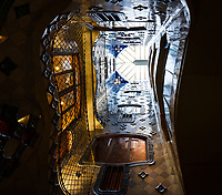 BARCELONA, SPAIN - CIRCA MAY 2018: Interior of Casa Batlló, a famous building in the center of Barcelona designed by Antoni Gaudi. View of the Atrium.