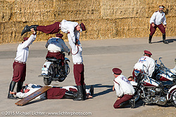 The Seattle Cossacks stunt team performing on their vintage Harleys at the Buffalo Chip Campground during the 75th Annual Sturgis Black Hills Motorcycle Rally.  SD, USA.  August 6, 2015.  Photography ©2015 Michael Lichter.