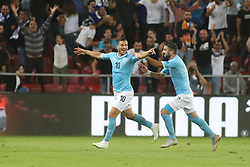 October 14, 2018 - Be'Er Sheva, Israel - Tomer Hemed (#10) of Israel celebrates after scoring a goal next to his teammate Moanes Dabour (#9) during UEFA Nations League C group 1 match between Israel and Albania at Turner Stadium in Be'er Sheva, Israel, on 14 October 2018. Israel won 2-0. (Credit Image: © Ahmad Mora/NurPhoto via ZUMA Press)