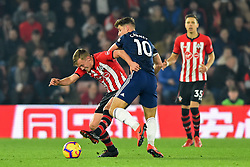February 27, 2019 - Southampton, England, United Kingdom - Southampton midfielder James Ward-Prowse battles with Fulham midfielder Tom Cairney during the Premier League match between Southampton and Fulham at St Mary's Stadium, Southampton on Wednesday 27th February 2019. (Credit Image: © Mi News/NurPhoto via ZUMA Press)