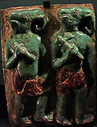 Elephant-headed warriors of Mara, glazed earthenware plaque, from a temple at Pegu, Burma, about 1480. Monstrous warriors were among the distractions sent by the arch-demon Mara in his vain attempt to disturb the Buddha's final meditation leading to his Enlightenment.