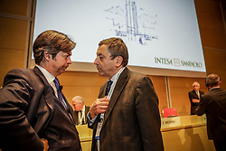Italy, Turin - April 27, 2018.Shareholders meeting of BANCA INTESA SANPAOLO bank..Carlo Messina and Francesco Profumo (Credit Image: © Lapone/Fotogramma/Ropi via ZUMA Press)