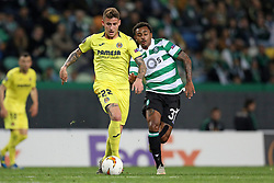 February 14, 2019 - Lisbon, Portugal - Dani Raba of Villarreal FC (L) vies for the ball with Wendel (Marcus Wendel Valle da Silva) of Sporting CP (R) during the Europa League 2018/2019 footballl match between Sporting CP vs Villarreal FC. (Credit Image: © David Martins/SOPA Images via ZUMA Wire)