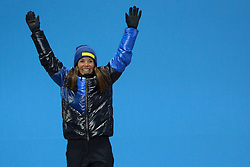 February 15, 2018 - Pyeongchang, South Korea - CHARLOTTE KALLA of Sweden celebrates receiving the silver medal for the Ladies' 10km Free cross-country event In the PyeongChang Olympic games. (Credit Image: © Christopher Levy via ZUMA Wire)