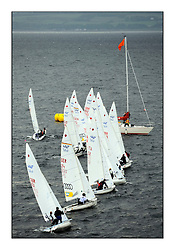 470 Class European Championships Largs - Day 1.Racing in grey and variable conditions on the Clyde..Women's Fleet Startline