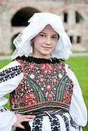 Brodsko kolo, Slavonski Brod, Croatia (9 June 2013). Young girl from Vrpolje in traditonal folk costume. The Brodsko kolo, now in its 49th year, is the oldest folk dancing festival in Croatia.