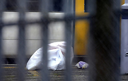 © under license to London News Pictures. 2010.12.30 A bag, believed to be covering remains of the victim lies on the platform. A man has been killed after being hit by a train at Chislehurst station this afternoon (Thursday) A police spokesman says he jumped in front of the fast train passing through. British Transport Police (BTP) and the Metropolitan police were called at 1.26pm. Picture credit should read Grant Falvey/LNP