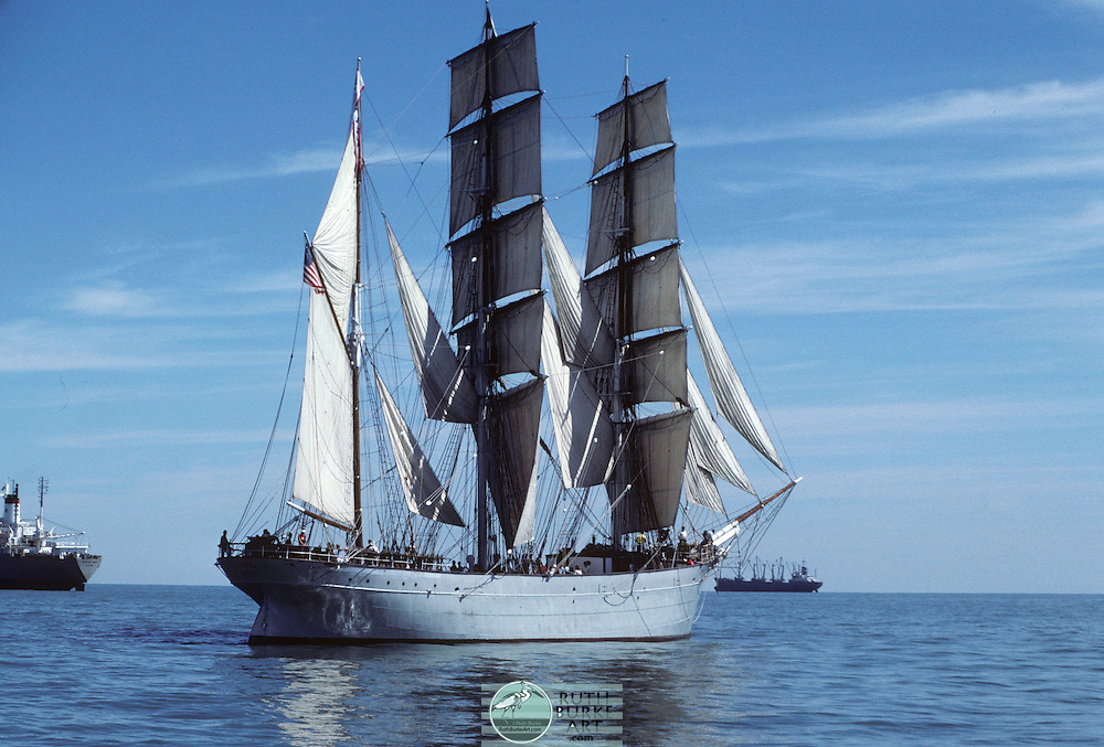 """The beautiful historical Elissa ship, built in 1877. Currently staying in Galveston, Texas. The """"Elissa"""" a vintage tall sailing ship from the 17th century docked in Galveston, Texas USA."""