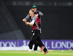 Max Waller and Jim Allenby of Somerset celebrate running out Gareth Berg.  - Mandatory by-line: Alex Davidson/JMP - 02/08/2016 - CRICKET - The Ageas Bowl - Southampton, United Kingdom - Hampshire v Somerset - Royal London One Day