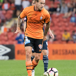 BRISBANE, AUSTRALIA - OCTOBER 7: Jacob Pepper of the Roar passes the ball during the round 1 Hyundai A-League match between the Brisbane Roar and Melbourne Victory at Suncorp Stadium on October 7, 2016 in Brisbane, Australia. (Photo by Patrick Kearney/Brisbane Roar)